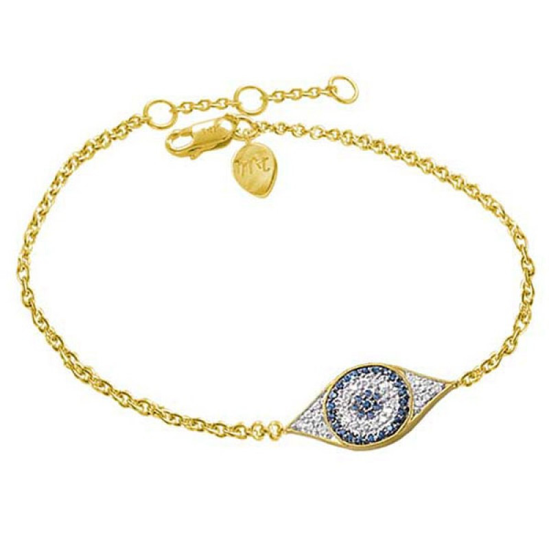 Meira T 14k Yellow Gold Evil Eye Diamonds & Sapphires Bracelet - 1B3582
