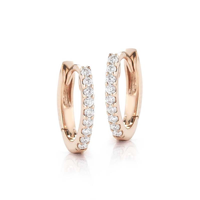 Dana Rebecca 14k Rose Gold Drd Diamond Huggies Earrings E1142