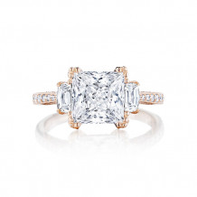 Tacori 18k Rose Gold RoyalT 3 Stone Engagement Ring - HT2655PR8PK