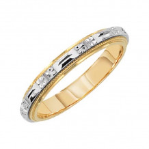 Lieberfarb 14k Gold & Platinum Classic Wedding Band - LT70664