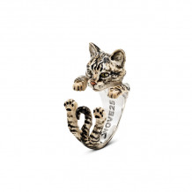 Cat Fever Sterling Silver and Enamel European - Gray Version Hug Ring - CFANESMATIG00001