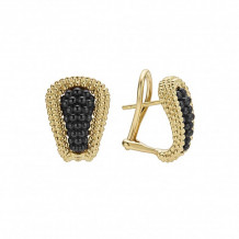 Lagos 18k Yellow Gold Gold & Black Caviar Beaded Earrings