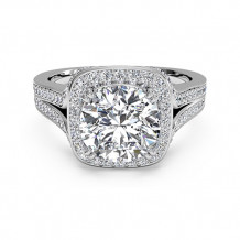 Ritani Masterwork Cushion Halo Diamond 'V' Band Engagement Ring - 1R3152