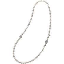 Mikimoto 18k White Gold Fortune Leaves Pearl Necklace - MZQ10029ADXW