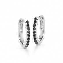 Dana Rebecca 14k White Gold DRD Black Diamond Huggies Earrings
