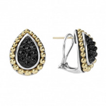 Lagos 18k Yellow Gold & Sterling Silver Black Caviar Beaded Earrings
