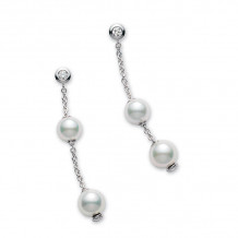 Mikimoto 18k White Gold Pearls in Motion Pearl Earrings - PEL644DW