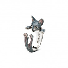 Cat Fever Sterling Silver and Enamel Sphynx - Gray Version Hug Ring - CFANESMAGR00004