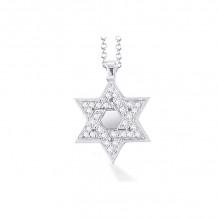 Shema 14k White Gold Star Of David Diamond Necklace - IR2184W