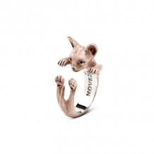 Cat Fever Sterling Silver and Enamel Sphynx - Pink Version Hug Ring - CFANESMACLA00004