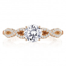 Tacori 14k Rose Gold Coastal Crescent Criss Cross Diamond Engagement Ring - P105RD6FPK
