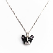 Dog Fever Sterling Silver and Enamel French Bulldog Snout Pendant - DFPENSMACLA00002