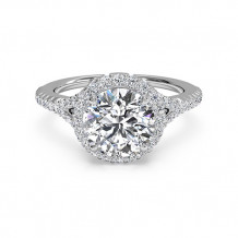 Ritani French-Set Halo Diamond 'V' Band Engagement Ring - 1R3766