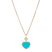 Chopard Happy Hearts Rose Gold Turquoise Heart Pendant - 17251