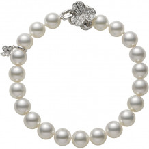 Mikimoto 18k White Gold Fortune Leaves Pearl Bracelet - MDQ10013ADXW