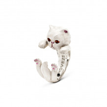 Cat Fever Sterling Silver and Enamel Persian - White Version Hug Ring - CFANESMACLA00002