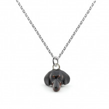 Dog Fever Sterling Silver and Enamel Dachsund Snout Pendant - DFPENSMACLA00017