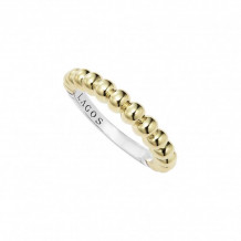 Lagos 18k Yellow Gold & Sterling Silver Signature Caviar Fluted Stacking Ring