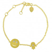 Meira T 14k Yellow Gold Happy Face and Hamsa Bracelet - 1B3778