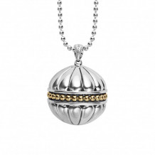 Lagos 18k Gold & Sterling Silver Caviar Talisman Ball Pendant Necklace - 07-81036-B34