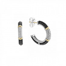 Lagos 18k Yellow Gold & Sterling Silver Black Caviar Hoop Earrings