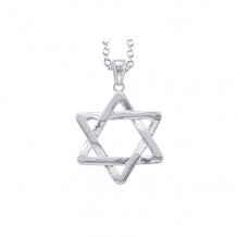 Shema 14k White Gold Star Of David Necklace