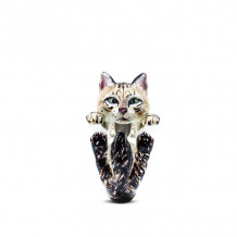 Cat Fever Sterling Silver and Enamel Norwegian Forest Hug Ring - CFANESMACLA00007