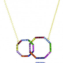 Phillips House 14k Yellow Gold Hero Rainbow Interlocking Diamond Necklace - N3019RBY