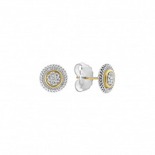 Lagos 18k Yellow Gold & Sterling Silver Signature Caviar Diamond Stud Earrings
