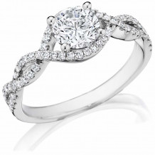 Bride2Be 14k White Gold Criss Cross Engagement Ring - RA081R075W4