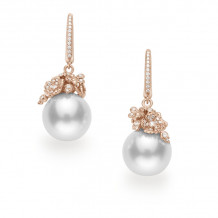 Mikimoto 18k Rose Gold Cherry Blossom Pearl Earrings - MEA10261NDXZ