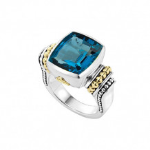 Lagos Sterling Silver 18k Gold Caviar Color Ring - 02-80562