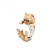 Cat Fever Sterling Silver and Enamel Persian - Beige Version Hug Ring - CFANESMATIG00002