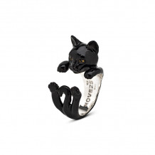 Cat Fever Sterling Silver and Enamel European - Black Version Hug Ring - CFANESMACLA00001