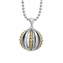Lagos 18k Gold & Sterling Silver Caviar Talisman Ball Pendant Necklace - 07-81049-B34