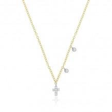 Meira T 14K Rose Gold Diamond Cross Pendant With Diamond Droplets - 1N9354/R
