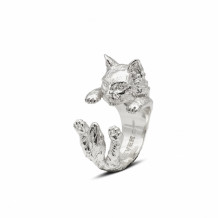 Cat Fever Sterling Silver Norwegian Forest Hug Ring - CFANE00007