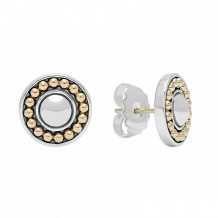 Lagos 18k Yellow Gold & Sterling Silver  Enso Circle Stud Earrings