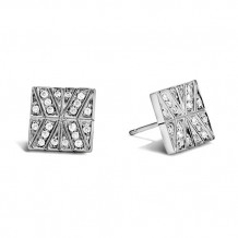 John Hardy Modern Chain Collection Pave Diamond Stud Earrings - EBP933142DI