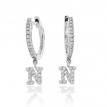 """Meira T 14K White Gold Diamond """"N"""" Initial Huggie Earrings - 1E8017/WB"""