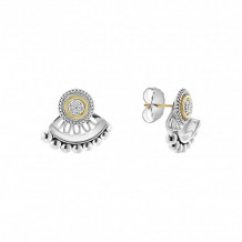 Lagos 18k Yellow Gold & Sterling Silver  Signature Caviar Diamond Jacket Earrings