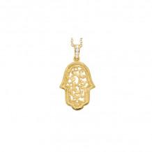 Shema 14k Yellow Gold Hamsa Diamond Necklace
