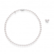 MIKIMOTO Two Piece 7-8mm Akoya Cultured Pearl Set - UN80118VD1W/PES801VW