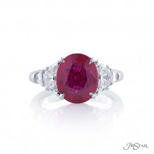 JB Star Plantinum Ruby and Diamond Wedding Band - 7294-007