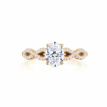 Tacori 14k Rose Gold Coastal Crescent Criss Cross Diamond Engagement Ring - P105OV75X55FPK
