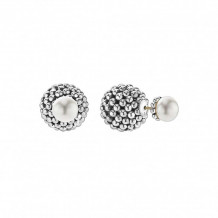 Lagos Sterling Silver Signature Caviar Pearl Front-Back Earrings - 01-81626-M