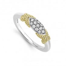 Lagos Caviar 18k Yellow Gold & Silver Diamond Ring - 02-80666-DD7