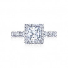 Tacori Platinum Petite Crescent Halo Engagement Ring - HT2560PR6