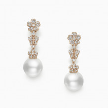 Mikimoto 18k Rose Gold Cherry Blossom Pearl Earrings - MEA10260NDXZ