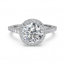 Ritani French-Set Halo Diamond Band Engagement Ring - 1R3705